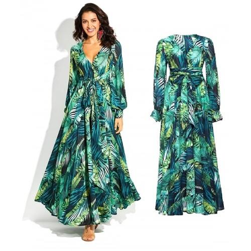 Zielona, zwiewna, maxi sukienka z motywem zielonych liści jungle